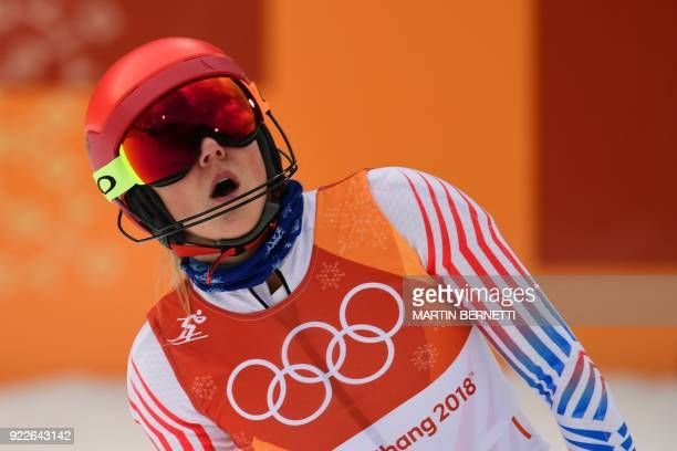 TOPSHOT USA's Mikaela Shiffrin reacts after crossing the finish line in the Women's Alpine Combined Slalom at the Jeongseon Alpine Center during the...