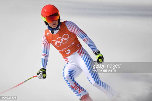 USA's Mikaela Shiffrin reacts after the 2nd training of the Alpine Skiing Women's Downhill at the Jeongseon Alpine Center during the Pyeongchang 2018...