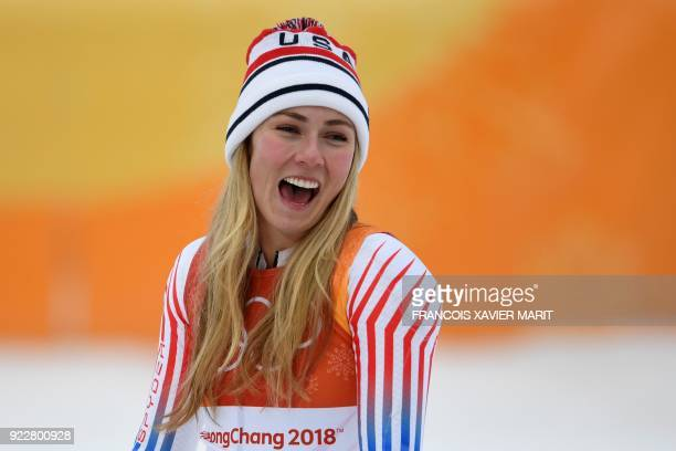 TOPSHOT USA's Mikaela Shiffrin silver celebrates during the victory ceremony of the Women's Alpine Combined Slalom at the Jeongseon Alpine Center...