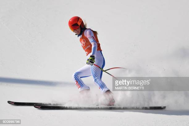 TOPSHOT USA's Mikaela Shiffrin takes part in the 3rd training of the Alpine Skiing Women's Downhill at the Jeongseon Alpine Center during the...