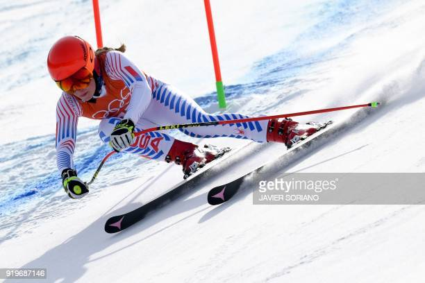 TOPSHOT USA's Mikaela Shiffrin takes part in the Women's Downhill 1st training at the Jeongseon Alpine Center during the Pyeongchang 2018 Winter...