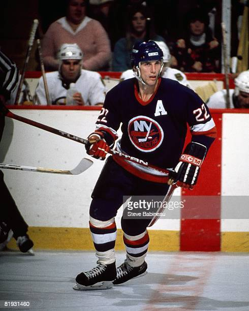 BOSTON MA 1980's Mike Bossy of the New York Islanders skates in game against the Boston Bruins at Boston Garden