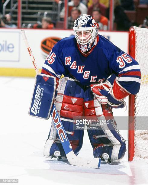 BOSTON MA 1990's Mike Richter of the New York Rangers tends goal in game against the Boston Bruins at the Fleet Center