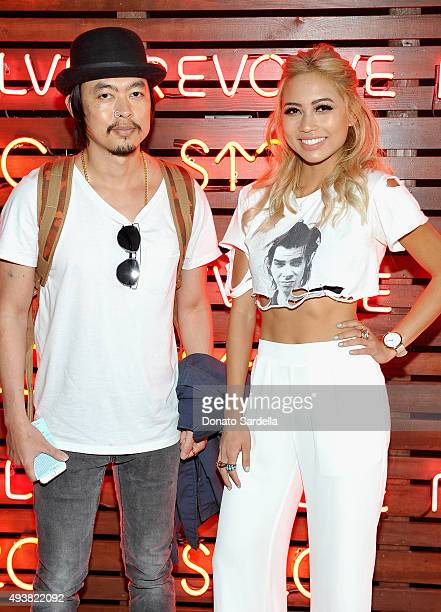 DJ's Minh Pham and Amy Pham attend the REVOLVE fashion show benefiting Stand Up To Cancer on October 22 2015 in Los Angeles California