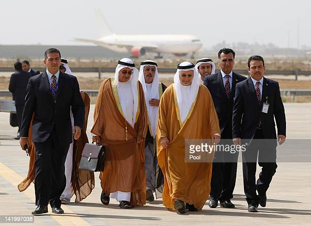 UAE's Minister of State for Foreign Affairs Anwar Mohammed Gargash and his companion delegation arrive for the Arab foreign minister's meeting as...