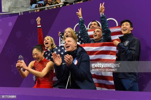 USA's Mirai Nagasu reacts after competing in the figure skating team event women's single skating free skating during the Pyeongchang 2018 Winter...