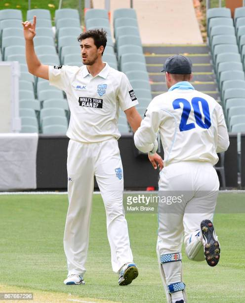 NSW's Mitchell Starc gets SA's Tom Cooper caught in the slipos during day three of the Sheffield Shield match between South Australia and New South...