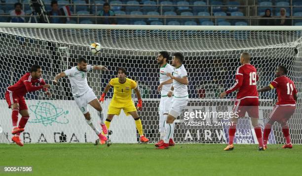 UAE's Mohammed Marzooq attempts a shot at goal during the 2017 Gulf Cup of Nations semifinal football match between Iraq and UAE at the Sheikh Jaber...