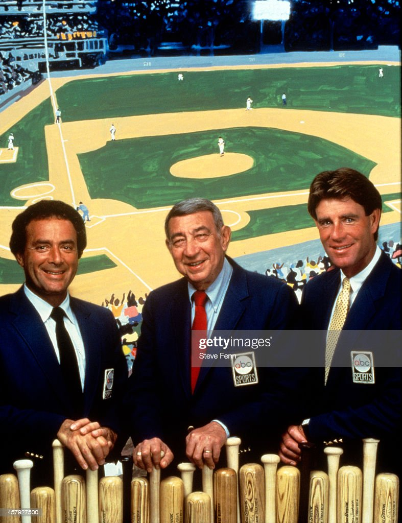 ABC SPORTS - 'ABC's Monday Night Baseball' commentators portrait - 6/26/85 Al Michaels, Howard Cosell, Jim Palmer