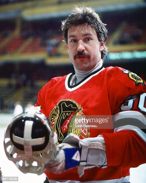 BOSTON MA 1980's Murray Bannerman of the Chicago Black Hawks poses for camera during pre game warm up against the Boston Bruins at Boston Garden
