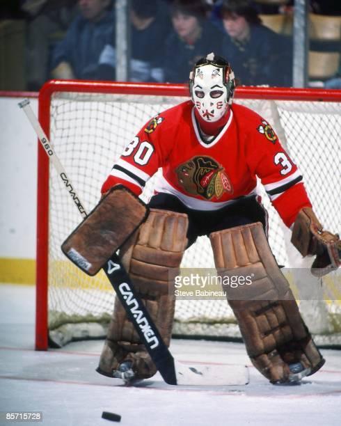 BOSTON MA 1980's Murray Bannerman of the Chicago Black Hawks tends goal against the Boston Bruins at Boston Garden