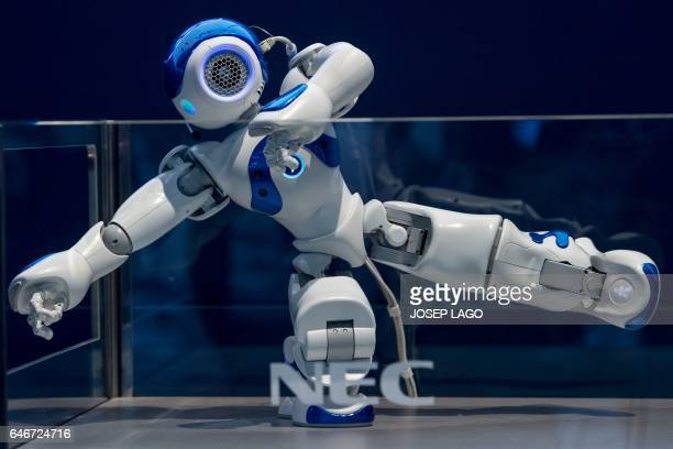 NEC's NAO robot does a demonstration during the Mobile World Congress on the third day of the MWC in Barcelona on March 1 2017 Phone makers will seek...