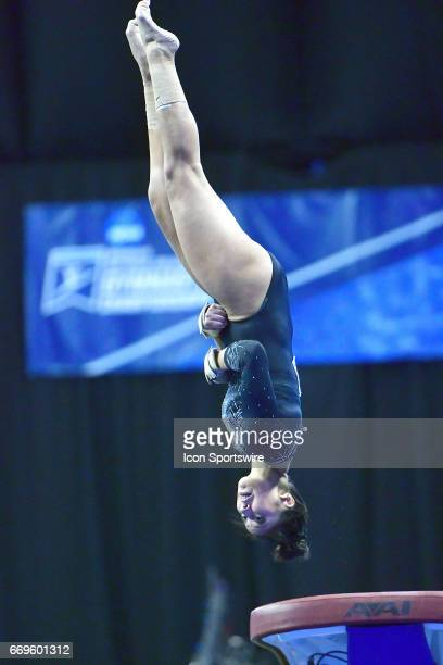 UCLA's Napualani Hall performs her flip from the vault during the finals of the NCAA Women's Gymnastics National Championship on April 15 at Chaifetz...