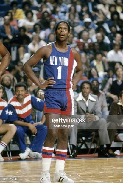 BALTIMORE MD CIRCA 1970's Nate Archibald of the New York Nets waits on a Washington Bullets shooter to shoot his freethrows during a mid circa 1970's...