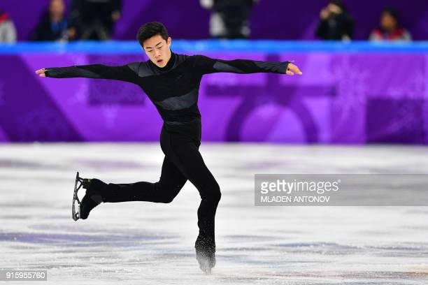TOPSHOT USA's Nathan Chen competes in the figure skating team event men's single skating short program during the Pyeongchang 2018 Winter Olympic...