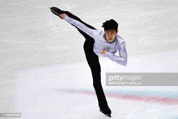 USA's Nathan Chen performs during the Men short program at the ISU Grand Prix of figure skating Final 2019 on december 5 2019 in Turin