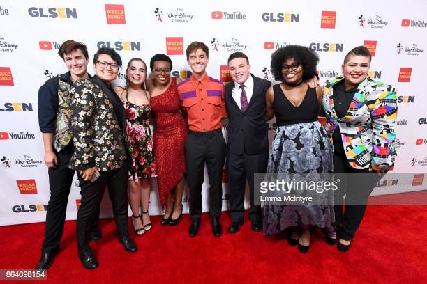 GLSEN's National Student Council members Nate Fulmer Marcus Breed Em Gentry honoree Ose Arheghan honorary cochair Connor Franta Danny Charney Imani...