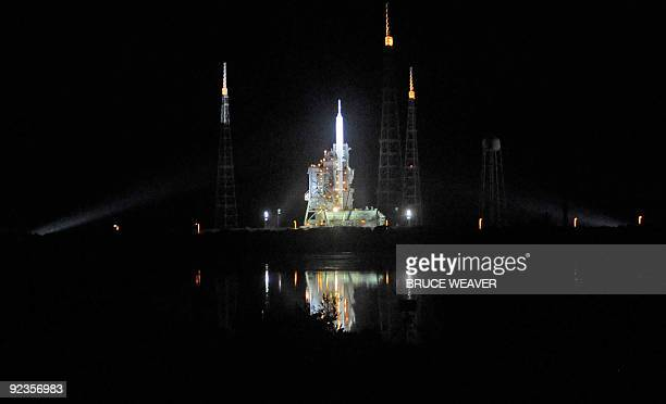 NASA's new Ares 1X test vehicle on October 26 2009 is ready on its launch platform at Kennedy Space Center's launch pad 39B in Florida NASA is poised...