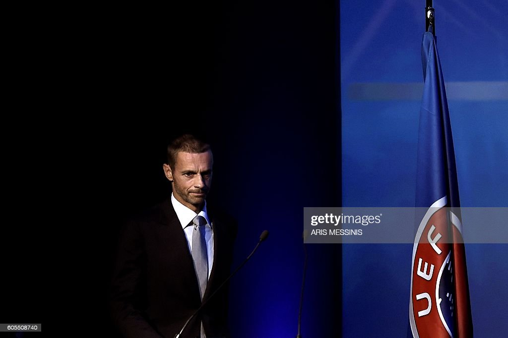 TOPSHOT - UEFA's newly elected president, Slovenian Aleksander Ceferin, is pictured during the 12th Extraordinary UEFA congress in Lagonissi, some 40 kilometers south of Athens, on September 14, 2016. Disgraced football leader Michel Platini said on September 14 in a farewell speech to UEFA that he felt no guilt over a $2 million payment from FIFA that has seen him suspended for four years. / AFP / ARIS