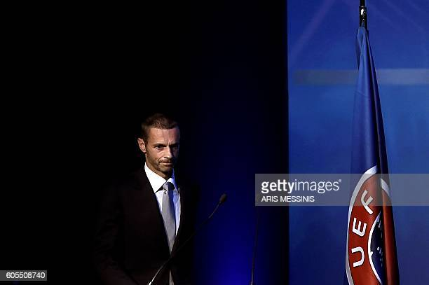 TOPSHOT UEFA's newly elected president Slovenian Aleksander Ceferin is pictured during the 12th Extraordinary UEFA congress in Lagonissi some 40...