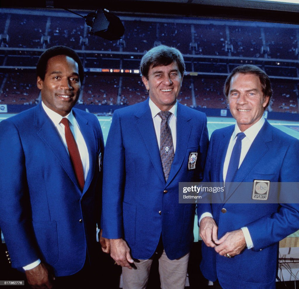 ABC's NFL Monday Night Football sportscasters O.J. Simpson, Don Meredith, and Frank Gifford (l-r) at the Silverdome, where the Detroit Lions are playing host to the Los Angeles Raiders.