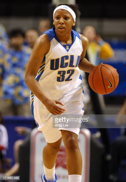 UCLA's Nikki Blue dribbles upcourt versus Cal in Pacific10 Conference women's basketball tournament quarterfinal at HP Pavilion in San Jose Calif...