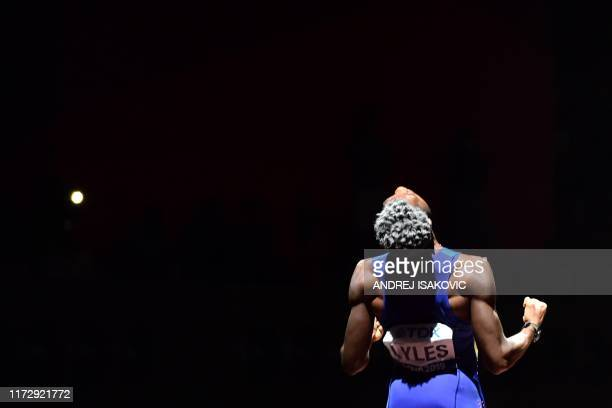 TOPSHOT USA's Noah Lyles waits for the start of the Men's 200m final at the 2019 IAAF Athletics World Championships at the Khalifa International...