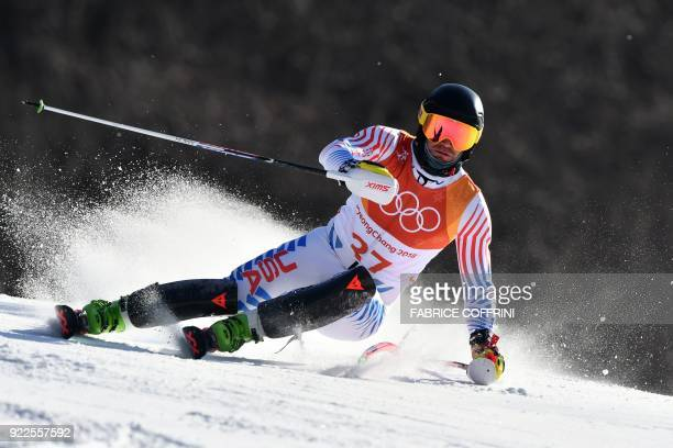 TOPSHOT USA's Nolan Kasper competes in the Men's Slalom at the Yongpyong Alpine Centre during the Pyeongchang 2018 Winter Olympic Games in...