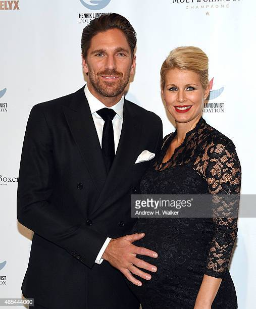 NHL's NY Ranger's goalkeeper Henrik Lundqvist and his wife Therese Andersson attend an evening Behind The Mask with the Henrik Lundqvist Foundation...