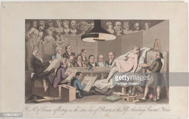 S of Genius Reflecting on the True Line of Beauty, at the Life Academy Somerset House, June 1, 1824. Artist Thomas Rowlandson.