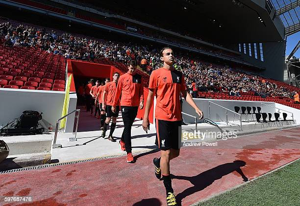 U23's of Liverpool at the main stand test event at Anfield on August 29 2016 in Liverpool England