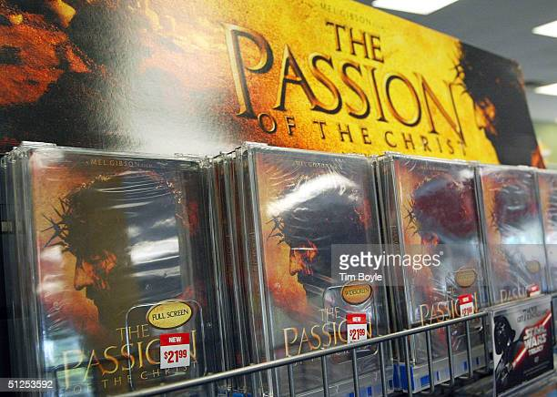 DVD's of Mel Gibson's movie The Passion of the Christ are seen in a movie rental store September 1 2004 in Park Ridge Illinois The Passion of the...
