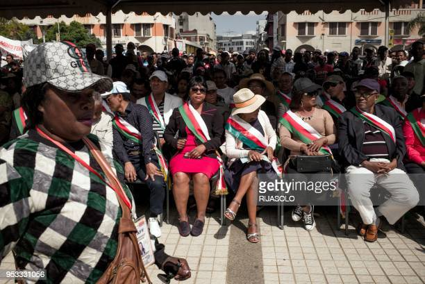 S of the opposition sit during a gather for the traditional may day demonstration called by opposition deputies, and workers' unions on May 1 in...