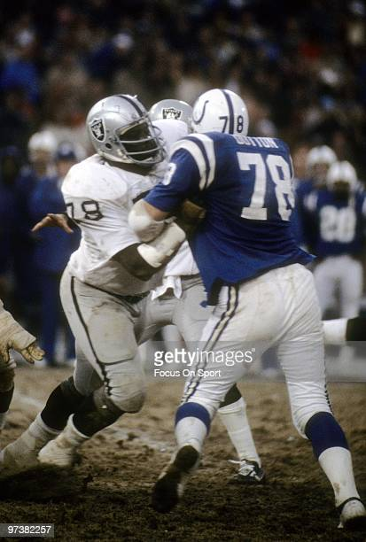BALTIMORE MD CIRCA 1970's Offensive tackle Art Shell of the Oakland Raiders in action blocks defensive tackle John Dutton of the Baltimore Colts...