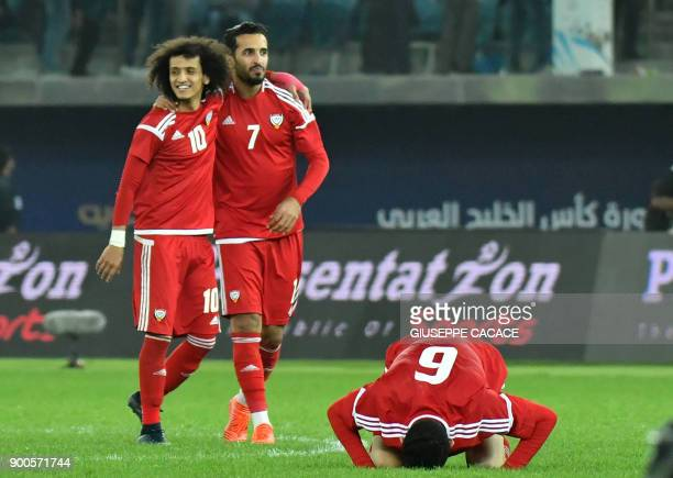 UAE's Omar Abdulrahman Ali Mabkhout and Mohanad Salem celebrate after winning the penalty shootout at the end of the 2017 Gulf Cup of Nations...