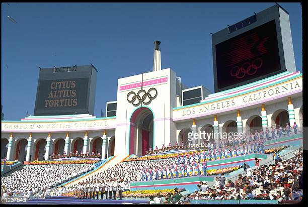 S OPENING CEREMONY OF THE 1984 SUMMER OLYMPICS. THE CEREMONY TOOK PLACE IN THE COLISEUM, LOS ANGELES, CALIFORNIA, UNITED STATES.