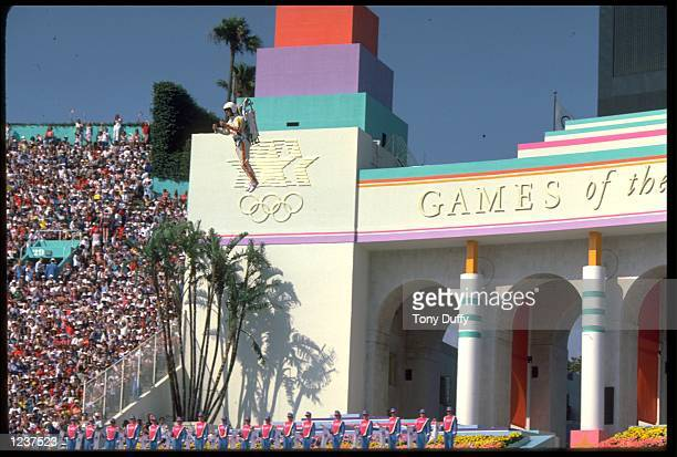 S OPENING CEREMONY. THE CEREMONY WAS HELD ON THE OPENING DAY OF THE 1984 SUMMER OLYMPICS IN LOS ANGELES, CALIFORNIA, UNITED STATES.