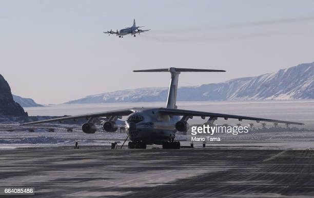 NASA's Operation IceBridge research aircraft lands at Thule Air Base on March 24 2017 in Pituffik Greenland NASA's Operation IceBridge is flying...