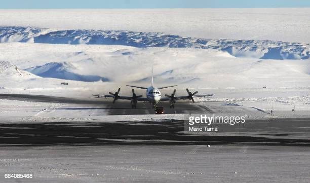 NASA's Operation IceBridge research aircraft taxis after landing at Thule Air Base on March 24 2017 in Pituffik Greenland NASA's Operation IceBridge...