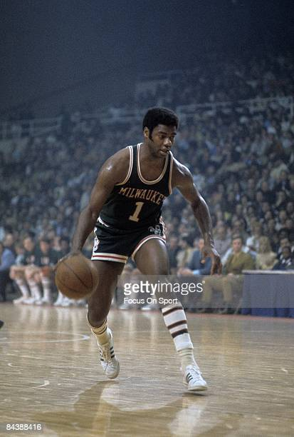 BALTIMORE MD CIRCA 1970's Oscar Robertson of the Milwaukee Bucks controlling the ball against the Baltimore Bullets during a early circa 1970's NBA...