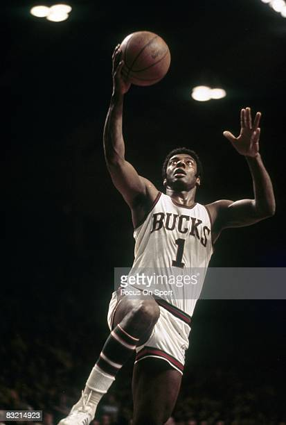 MILWAUKEE WI CIRCA 1970's Oscar Robertson of the Milwaukee Bucks goes in for a layup during a circa early 1970's NBA basketball game at the Milwaukee...