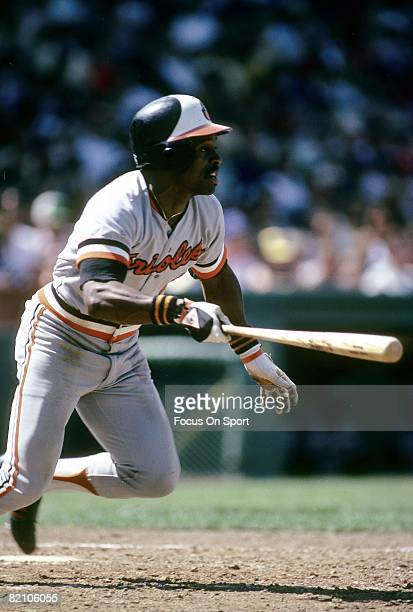 CIRCA 1970's Outfielder Al Bumbry of the Baltimore Orioles watches the flight of his ball as he starts out of the batters box during a late circa...