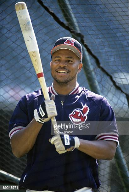 MID1990's Outfielder Albert Belle of the Cleveland Indians awaits his next turn in the batting cage prior to game in the mid1990's at Jacobs Field in...