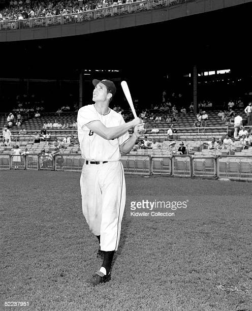 S: Outfielder Bobby Thomson of the New York Giants poses for a portrait prior to a 1950's game at the Polo Grounds in Manhattan, New York. Thomson...