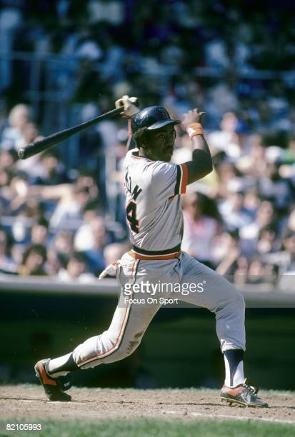 CIRCA 1980's Outfielder Chet Lemon of the Detroit Tigers watches the flight of his ball as he follows through on his swing during a mid circa 1980's...