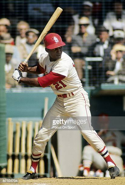 ST LOUIS MO CIRCA 1960's Outfielder Curt Flood of the St Louis Cardinal is at the plate ready to hit during a mid circa 1960's Major League Baseball...
