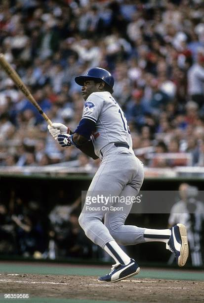 Outfielder Dusty Baker of the Los Angeles Dodgers swings and watches the flight of his ball during a late circa 1970's Major League Baseball game....