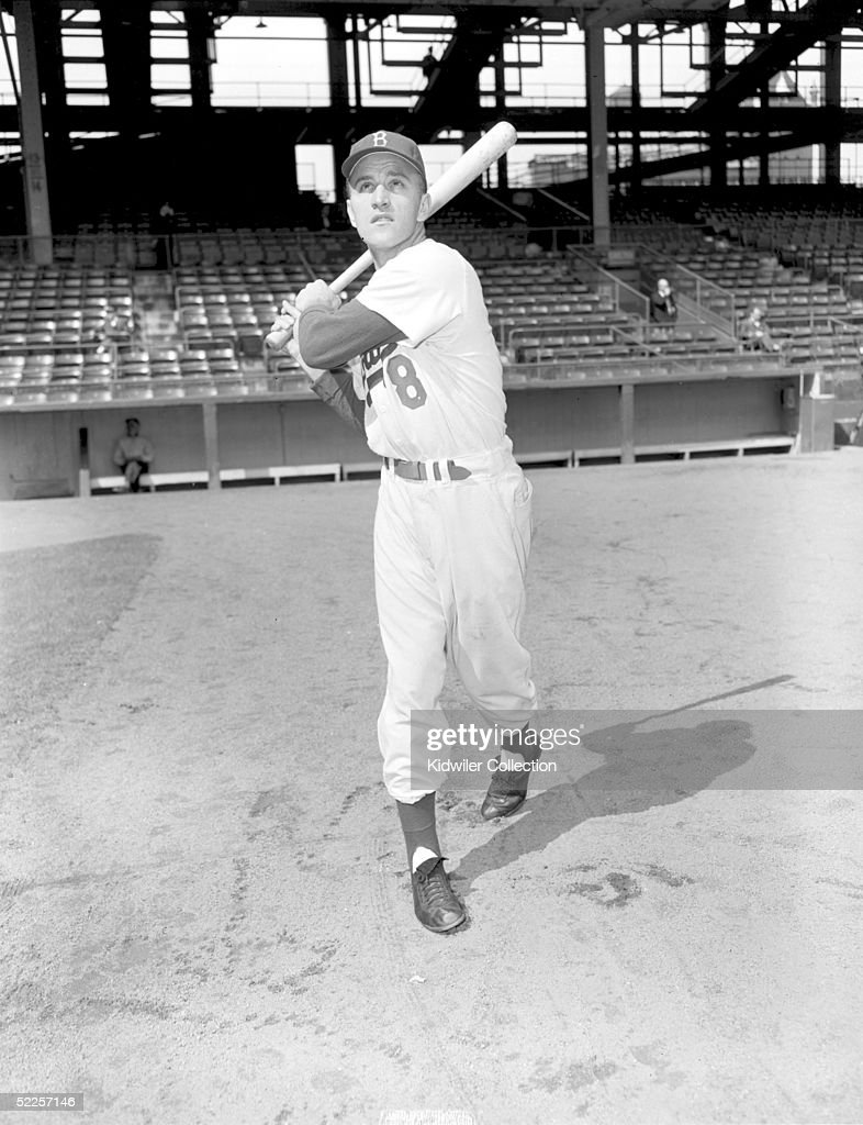 BROOKLYN, NY - 1950's: Outfielder George 'Shotgun' Shuba of the Brooklyn Dodgers poses for a circa 1950's portrait at Ebbets Field in Brooklyn, New York.