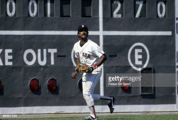 BOSTON MA CIRCA 1980's Outfielder Jim Rice of the Boston Red Sox tracks a fly ball in left field during a MLB baseball game circa mid 1980's at...