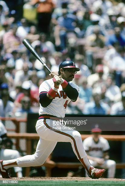ANAHEIM CA CIRCA 1980's Outfielder Reggie Jackson of the California Angles swings and watches the flight of his ball during a circa 1980's Major...